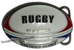 Rugby Union Field of Dreams Belt Buckle with display stand. Code OM6